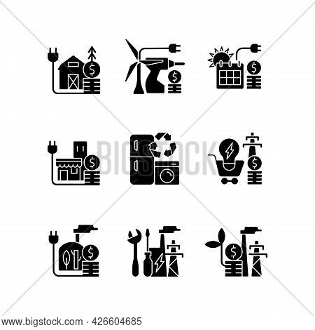 Electrical Energy Black Glyph Icons Set On White Space. Appliance Recycling Program. Utility Service