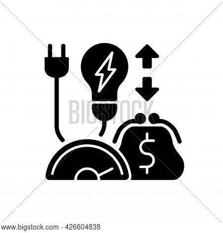 Energy Efficiency Program Black Glyph Icon. Policy For Purchasing Electric Power. Resource Supply Co