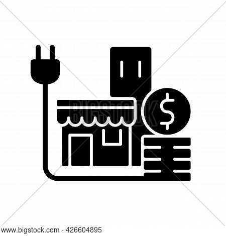 Energy Price For Commercial Customer Black Glyph Icon. Cost For Electrical Power For Shops And Store
