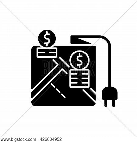 Pricing By Locality Black Glyph Icon. Location On Map For Point Of Electricity. Tracking Payment For