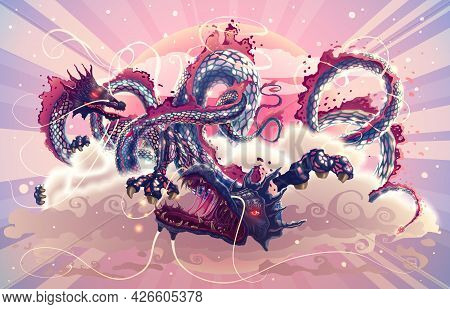 Fantasy Japanese Dragons In Magic Sky With Clouds Over Red Sun Illustration, Hand Drawn Flying Chine