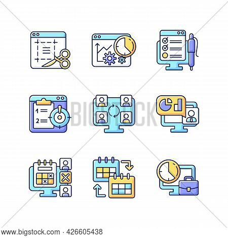 Work Monitoring Tools Rgb Color Icons Set. Project Evaluation. Productivity Control. Employee Effici