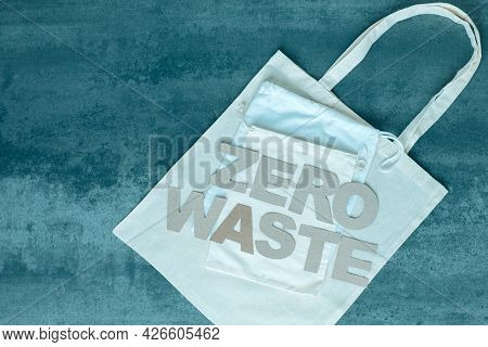 Zero Waste Paper Text And Eco Bags. Eco Friendly And Reusable Packaging. High Quality Photo