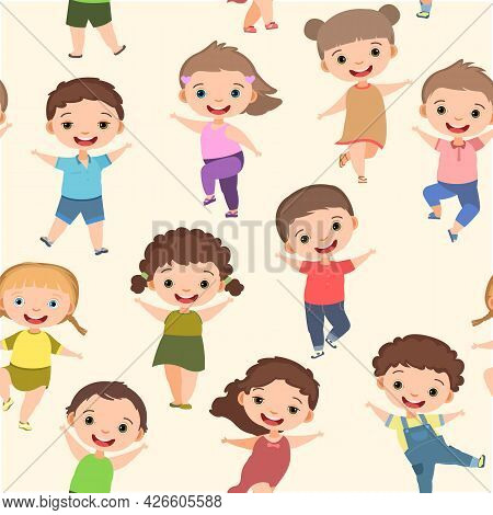 Happy Childhood. Seamless Pattern. Little Boys And Girls. Kid Is Jumping For Joy At The Party. Charm