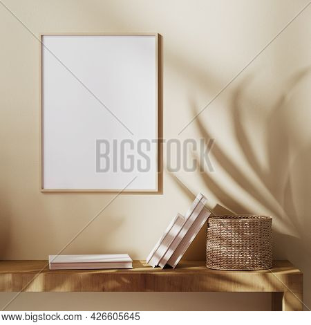 Blank Wooden Frame Mock Up On Beige Wall With Sunbeam And Palm Leaves Shadow, Boho Style, Balinese S
