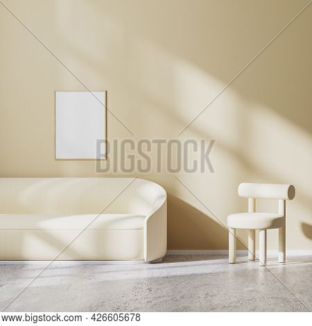 Poster Frame Mock Up In Modern Minimalistic Design Of Living Room With Light Beige Armchair And Sofa