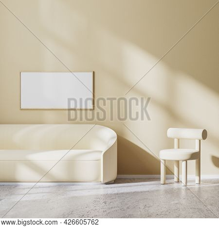 Horizontal Frame Mock Up In Modern Minimalistic Design Of Living Room With Light Beige Armchair And