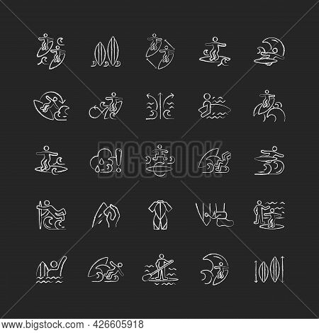 Surfing Chalk White Icons Set On Dark Background. Recreational Activity. Catching Waves And Learning