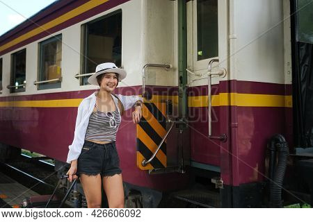 The Young Asian Women Starting Her Trip And Travel By Train, Traveling Along Asia, Chiangmai, Thaila