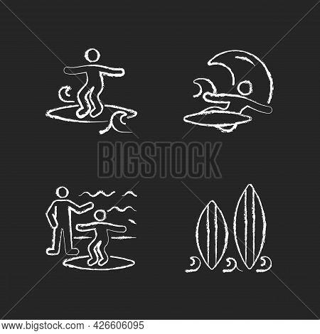 Surfboarding Chalk White Icons Set On Dark Background. Crumbly Waves Surfing. Flight Maneuver. Takin