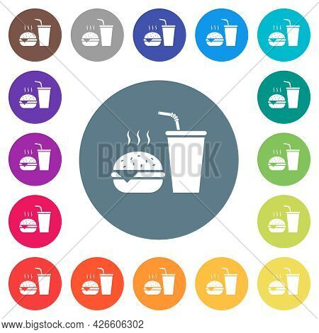 Fast Food Menu With Cheeseburger And Drink Flat White Icons On Round Color Backgrounds. 17 Backgroun