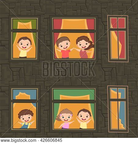 House Windows. Children Are Having Fun. Night. Cartoon Style School. Stone Walls Of A High-rise Buil