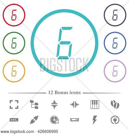 Digital Number Six Of Seven Segment Type Flat Color Icons In Circle Shape Outlines. 12 Bonus Icons I