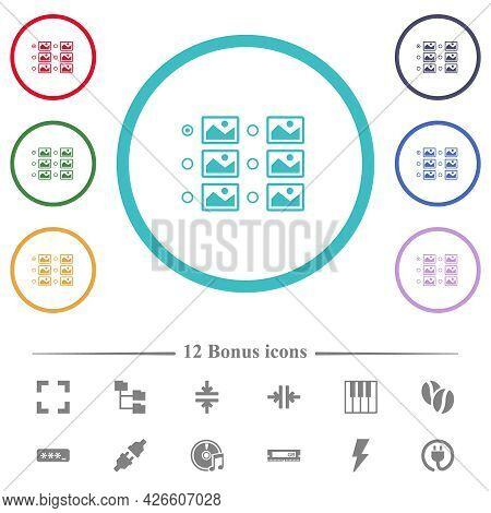 Single Image Selection With Radio Buttons Flat Color Icons In Circle Shape Outlines. 12 Bonus Icons