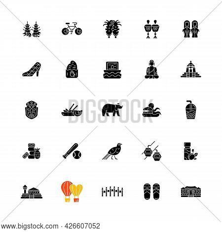 Taiwan Black Glyph Icons Set On White Space. Taiwanese Traditional National Items. Asian Cultural Bl
