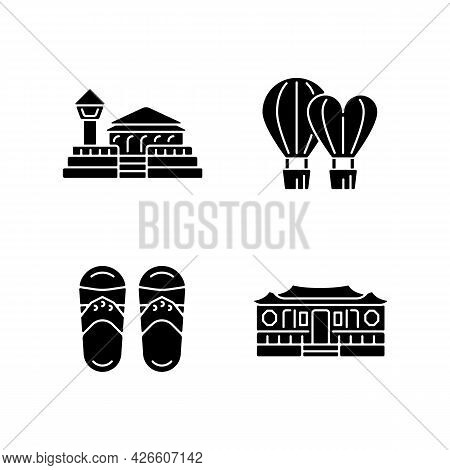 National Taiwanese Black Glyph Icons Set On White Space. Longshan Temple. Taiwanese Slippers. Tradit