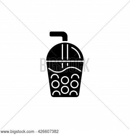 Bubble Tea Black Glyph Icon. Black Tea With Milk, Ice And Chewy Tapioca Pearls. Boba Drink. Common D
