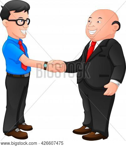 Two Businessmen Shaking Hands On A White Background