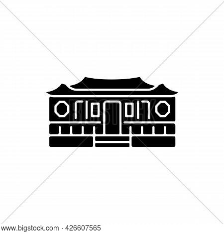 Longshan Temple Black Glyph Icon. Taipei Old Village Part. Oriental Cult Ancient Building. Taiwan Na