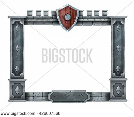 Medieval Game Stone Frame, Ui Interface Vector Panel, Ancient Rock Pillars, Wooden Knight Shield. Us