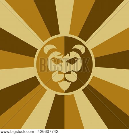 Lion As Logo Background. Illustration Of A Lion As A Logo Design And Abstract Background