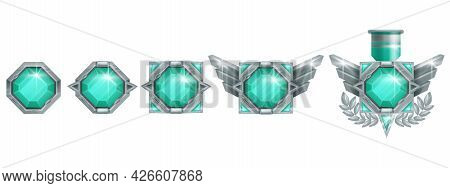 Game Winner Badge Vector Icon, Rank Level Medal, Silver Award, Abstract Wings, Green Crystal Gemston