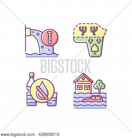 Water Stress Rgb Color Icons Set. Isolated Vector Illustrations. Desert Expansion. Urban Runoff Mana