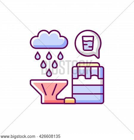 Recycling Rainwater Rgb Color Icon. Isolated Vector Illustration. Collecting Rainfall From Roof And