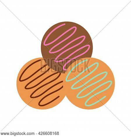 Round Cookies With Multicolored Filling On An Isolated Background. Appetizer Or Dessert. Flat Design