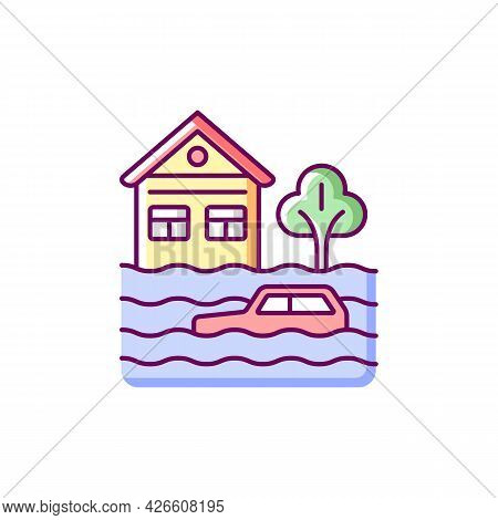 Floods Rgb Color Icon. Isolated Vector Illustration. Water-related Disaster. Negative Impacts On Env