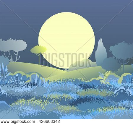 Night Beautiful Rural Landscape. Cartoon Style. Hills With Grass And Dark Trees. Large Moon And Moon