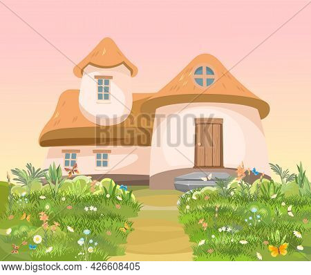 Fabulous Funny House In Clearing. Straw Roof. Grass Flower Meadow. Beautiful Cartoon Landscape Illus