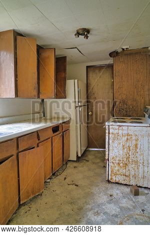 Dirty And Filthy Kitchen Of An Old Uninhabitable House In Washington State