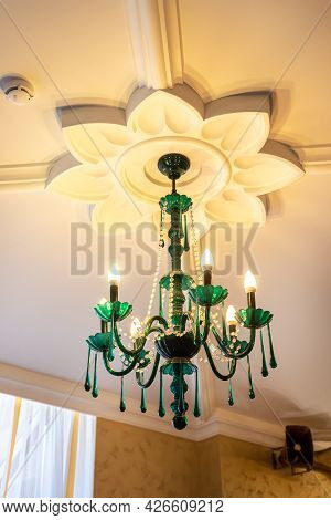 Wonderful Vintage Luster Of Green Glass With Glowing Light Bulbs And Beads Hangs On Ceiling With Dec
