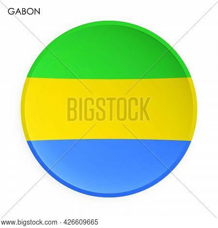 Gabon Flag Icon In Modern Neomorphism Style. Button For Mobile Application Or Web. Vector On White B