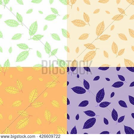 Set Of Seamless Patterns With Doodle Ash Tree Leaves. Ornament For Decoration And Printing On Fabric