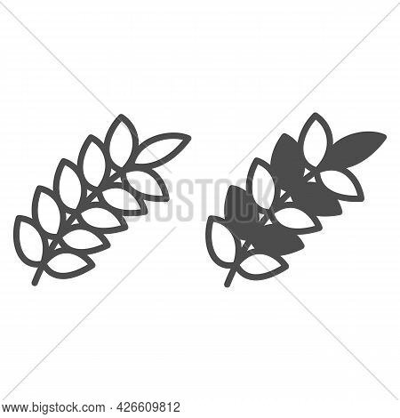 Wheat Ear Line And Solid Icon, Food Harvest Concept, Wheat Spikelet Vector Sign On White Background,