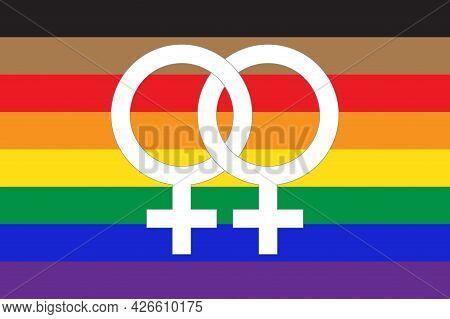 New Lgbtq Pride Flag With Lesbian Symbol Icon Inside. Flat Vector Illustration