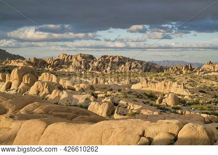 Aerial Panoramic View Of Joshua Tree National Park With Giant Rock Formations