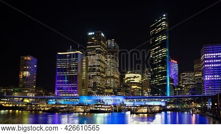 Sydney, Nsw, Australia - June 3, 2013 : Circular Quay And Sydney City During A Light Show At Night.