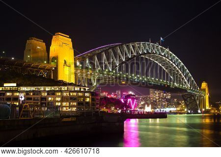 Sydney, Nsw, Australia - June 3, 2013 : Sydney Harbour During A Light Show At Night.