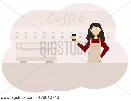 Illustration Of A Coffee Shop Interior And A Barista Woman With A Cup Of Coffee