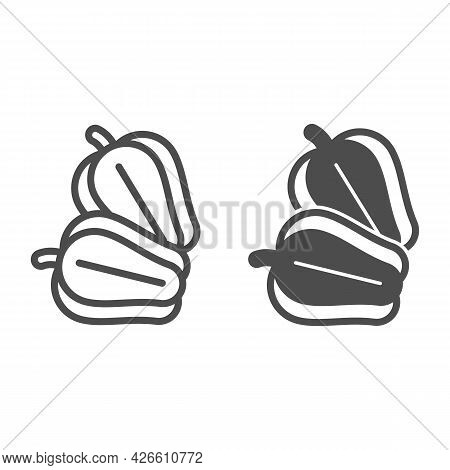Sweet Pepper Line And Solid Icon, Vegetables Concept, Bell Pepper Vector Sign On White Background, O