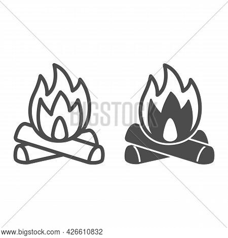 Firewood And Fire Line And Solid Icon, Camping Concept, Celebration Bonfire Vector Sign On White Bac