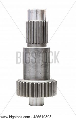 Industrial Small Gear Cog Part, A Cog Made Of Steel For Use On Machinery Or Vehicles, Isolated On Wh