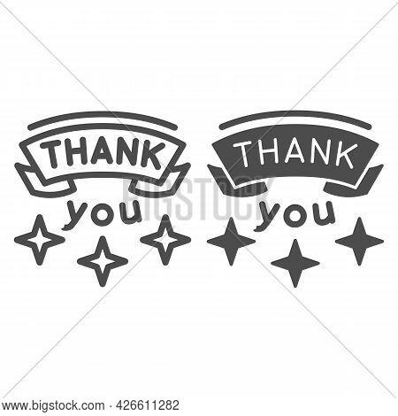 Inscription Gratitude Line And Solid Icon, Thankfullness Appreciation Concept, Thank You Text Vector