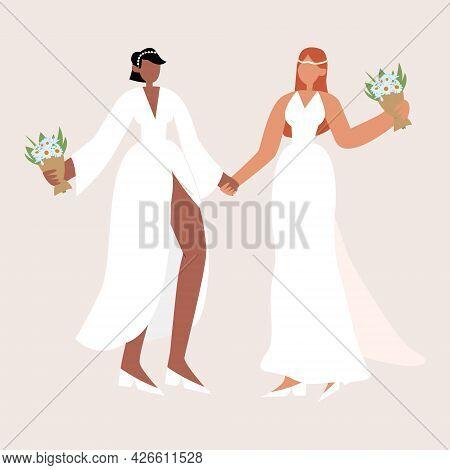Happy Lesbian Couple. Lgbtq Wedding. Two Lesbians Hug In Wedding Dresses With Bouquets. Interracial