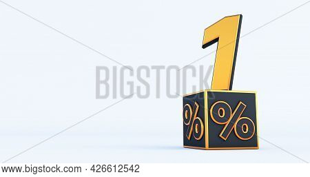 Gold One 1 Percent Number With Black Cubes  Percentages Isolated On A White Background. 3d Render