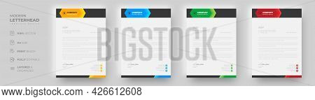 Corporate Modern Letterhead Design Template With Yellow, Blue, Green And Red Color. Creative Modern