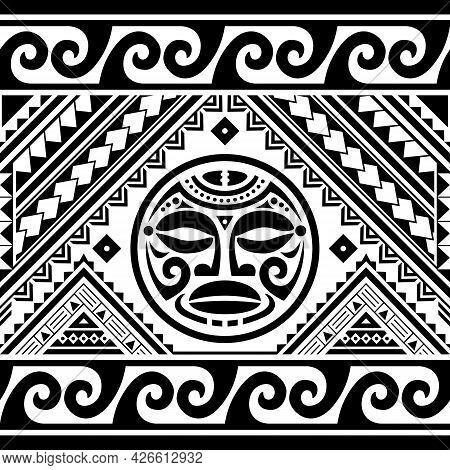 Polynesian Ethnic Seamless Geometric Vector Pattern With Maori Face Tattoo Design And Waves, Hawaiia
